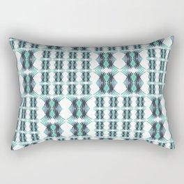 Vintage African Geometric Teal and Aqua Rectangular Pillow