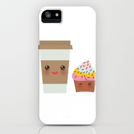 coffee in Paper thermo cup with brown cap and cup holder, chocolate cupcake. Kawaii iPhone Case
