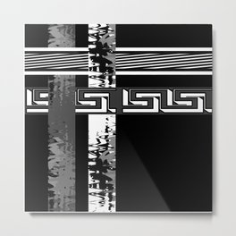 Creative Black and white pattern . The braided belts . Metal Print