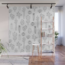 Cactus Silhouette Black Wall Mural