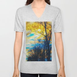 Yellow and Blue Forest Unisex V-Neck