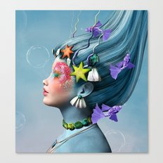 Beautiful girl with fantasy make up and fishes Canvas Print