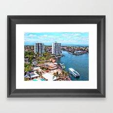 Blue Gold Coast Framed Art Print