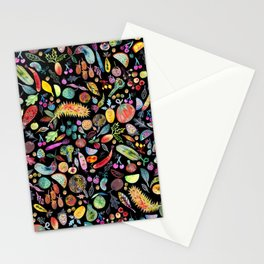 Colorful Whimsical Watercolor Fruits Veggies Black Pattern Stationery Cards