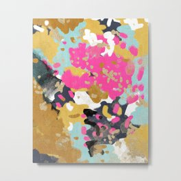 Laurel - Abstract painting in a free style with bold colors gold, navy, pink, blush, white, turquois Metal Print