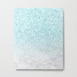 Pretty Turquoise Marble Sparkle Metal Print