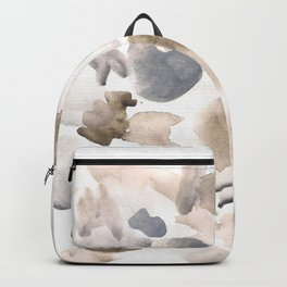 180630 Abstract Watercolour Black Brown Grey Neutral 17| Watercolor Brush Strokes Backpack