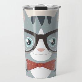 Grey Tabby Hipster Cat Travel Mug