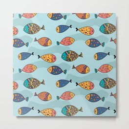 Colorful fish pattern Metal Print