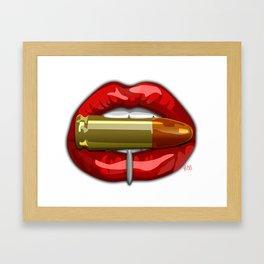 Biting The Bullet Pierced Red Lips on White Framed Art Print