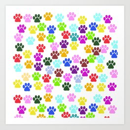 Dog Paws, Trails, Paw-prints - Red Blue Green Art Print