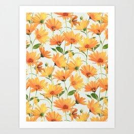 Painted Radiant Orange Daisies on off-white Art Print