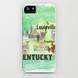 Kentucky USA State Illustrated Travel Poster Favorite Tourist Map iPhone Case