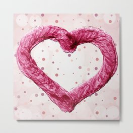 Magenta Rope Heart Metal Print