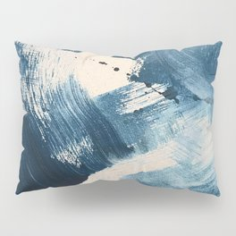 Against the Current: A bold, minimal abstract acrylic piece in blue, white and gold Pillow Sham