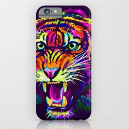 Growling tiger abstract multicolored portrait iPhone Case