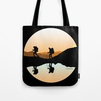 hiking Tote Bags featuring HIKING by Şemsa Bilge (Semsa Fashion)