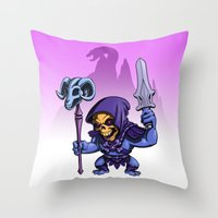 skeletor Throw Pillows featuring Little Skeletor by Rico Marcano