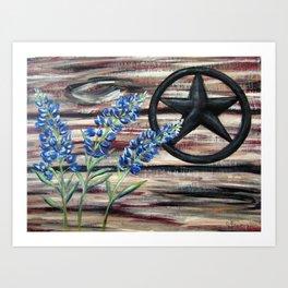 Blue Bonnets Texas Star Art Print