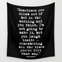 font Wall Tapestries featuring Charles Bukowski Typewriter White Font Quote Morning by Fligo