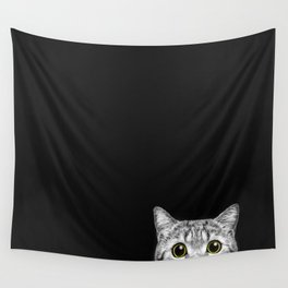 Curious Cat Peeking, Sneaky Kitty, Kitty Photography, Cat, Cats Wall Tapestry