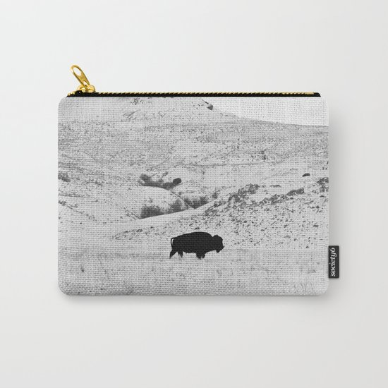Black and White Bison Carry-All Pouch