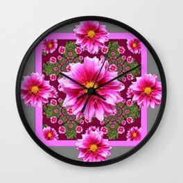 Abstracted  Fuchsia Dahlias Geometric Stylized Floral Grey Garden Wall Clock