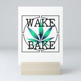 WAKE AND BAKE, TEAL AQUA Cannabis Weed Smoke Marijuana Typography Mini Art Print