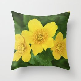 Marsh Marigold Caltha Palustris Throw Pillow