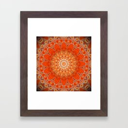 Detailed Orange Boho Mandala Framed Art Print
