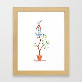 Happy bird house Framed Art Print