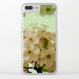 Spring Flowers on mint green background A377 Clear iPhone Case