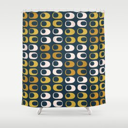 Midcentury Modern Pods 2 Minimalist Abstract Pattern in Mustard, Pale Pink, and Navy Shower Curtain