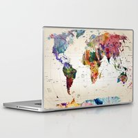 whimsical Laptop & iPad Skins featuring map by mark ashkenazi