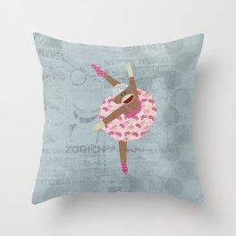 Sock Monkey Ballerina Throw Pillow