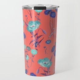 Living Coral Floral Pattern.Color of year 2019 Travel Mug