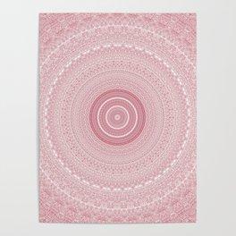 Boho Chic Glittery Pink Pastel Mandala Poster