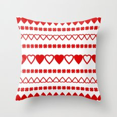 Red Hearts Pattern Throw Pillow