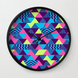 Vintage Retro 1980s 80s Nights New Wave Triangular Print Wall Clock