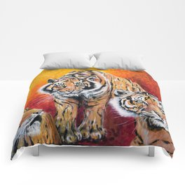Three Lucky Tigers Comforters
