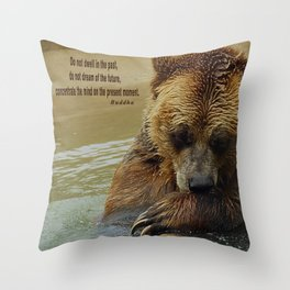 In Deep Thought   - Grizzly Bear Throw Pillow