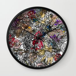 Floral Abstract Retro Inspired Wall Clock