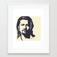 brad pitt Framed Art Prints featuring Brad Pitt by Dora Birgis