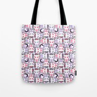 pastel goth Tote Bags featuring Angelic Kitty (Pastel Goth) by display