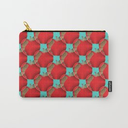 Colorful red apples on a teal background Carry-All Pouch