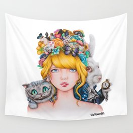 Alice in Wonderland Rendition Cartoonised Drawing Wall Tapestry