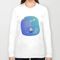 boats Long Sleeve T-shirts featuring Little Boats by La Lanterne
