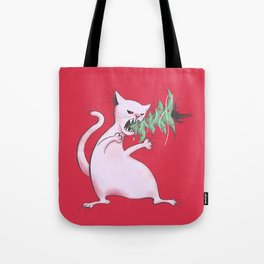 Funny Fat White Cat Eats Christmas Tree Tote Bag