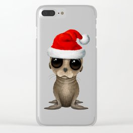 Christmas Sea Lion Wearing a Santa Hat Clear iPhone Case
