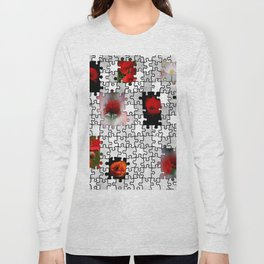 poppy love in puzzle design Long Sleeve T-shirt